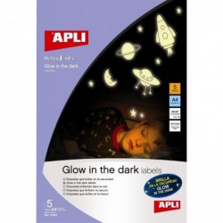 APLI Etui 5 feuilles A4 étiquettes Brillantes Phosphorescente dans le noir