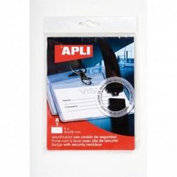 APLI Pochette de 5 badges avec lacet de sécurité  90 x 56 mm