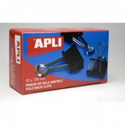 APLI Boîte de 12 pinces à clip 25mm Noir