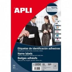 APLI Bte 540 Etiquettes textiles badges adhésif 63.5x29.6 mm