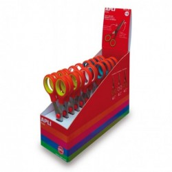 APLI Présentoir de 12 ciseaux scolaires couleurs assorties - lame de 13 cm
