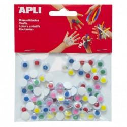 APLI Sachet 100 yeux mobiles rond avec pupille colorée adhésif couleurs assorties