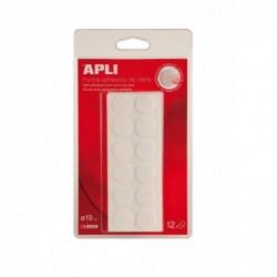 APLI Pastilles auto-agrippantes adhésives blanches Ø 19 mm