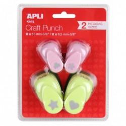 APLI Blister de 4 perforatrices de forme créative coeur / étoile et fleur / trèfle assorties