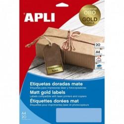 APLI Etui de 20  Etiquettes Laser / Copieur A4 Coins Droits OR