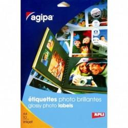 AGIPA Pochette 10 etiquettes photo brillante jet d'encre  210 x 297 mm