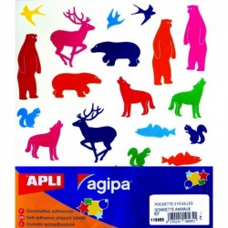AGIPA Pochette 54 gommettes animaux couleurs assorties 210 x 240 mm