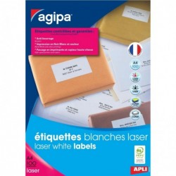 AGIPA Bte 1800 étiquette 63,5x46,6 mm (18 x 100F A4) Las / Cop Coin Rond Permanent Blanc