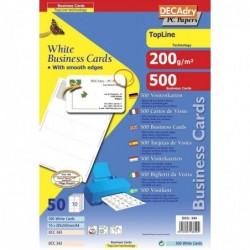 DECADRY Pochette 500 cartes de visite blanches TopLine - 200g 85 x 54 mm