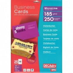 DECADRY Pochette 250 cartes de visite blanches MicroLine - 185g 85 x 54 mm
