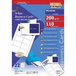 DECADRY Pochette 110 Double cartes blanches MicroLine - 200g 85 x 54 mm