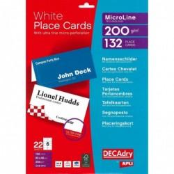 DECADRY lot 132 chevalets blancs MicroLine - 200g 85 x 46 mm