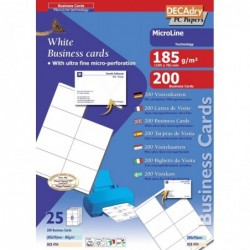 DECADRY Pochette 200 cartes blanches MicroLine - 185g 105 x 70 mm