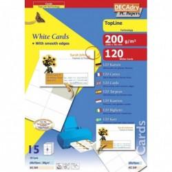 DECADRY Pochette 120 cartes de visite blanches TopLine 200g 105 x 70 mm