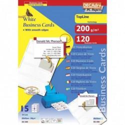 DECADRY Pochette 120 cartes de visite blanches TopLine - 200g 85 x 54 mm