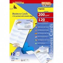 DECADRY Pochette 120 cartes de visite pré-imprimées TopLine - 200g  85 x 54 mm