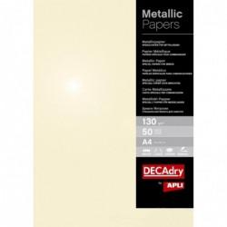 DECADRY Papier de communication Structuré A4 130g 50 feuilles Métallisée Champagne