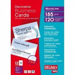 DECADRY Pochette 120 cartes de visite pré-imprimées MicroLine - 185g 85 x 54 mm