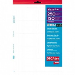 DECADRY Pochette 120 cartes de visite blanches MicroLine - 250g 85 x 54 mm