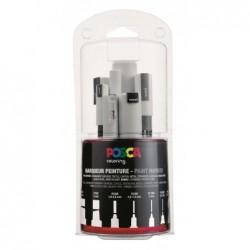 POSCA Kit multi-pointes 7 tailles Blanc