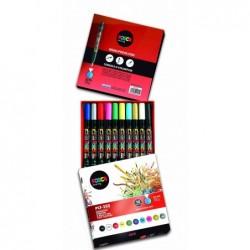 POSCA Boîte de 10 marqueurs pinceau POSCA PCF350/10 1-10mm Assorti
