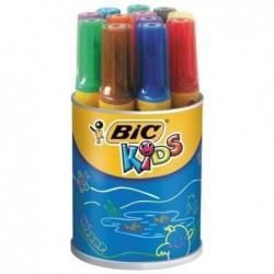 BIC Pot 12 feutres KIDS DECORALO Pte ogive bloquée extra large 12 couleurs assorties