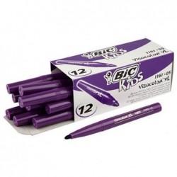 BIC Boîte de 12 feutres de coloriage KIDS VISACOLOR XL Pte large Bloquée Violet