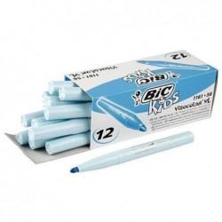 BIC Boîte de 12 feutres de coloriage KIDS VISACOLOR XL Pte large Bloquée Bleu Ciel