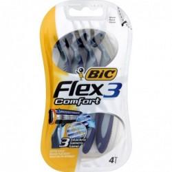 BIC Blister 4 Rasoirs Flex 3 Comfort à 3 lames mobiles Tête pivot + Bande lubrifiante