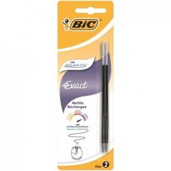 BIC Blister de 2 Recharges Pte fine 0,7 mm Noir pour Stylo bille ATLANTIS EXACT