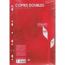 CALLIGRAPHE Pqt 50 copies doubles perforées 200 p grands carreaux 70g