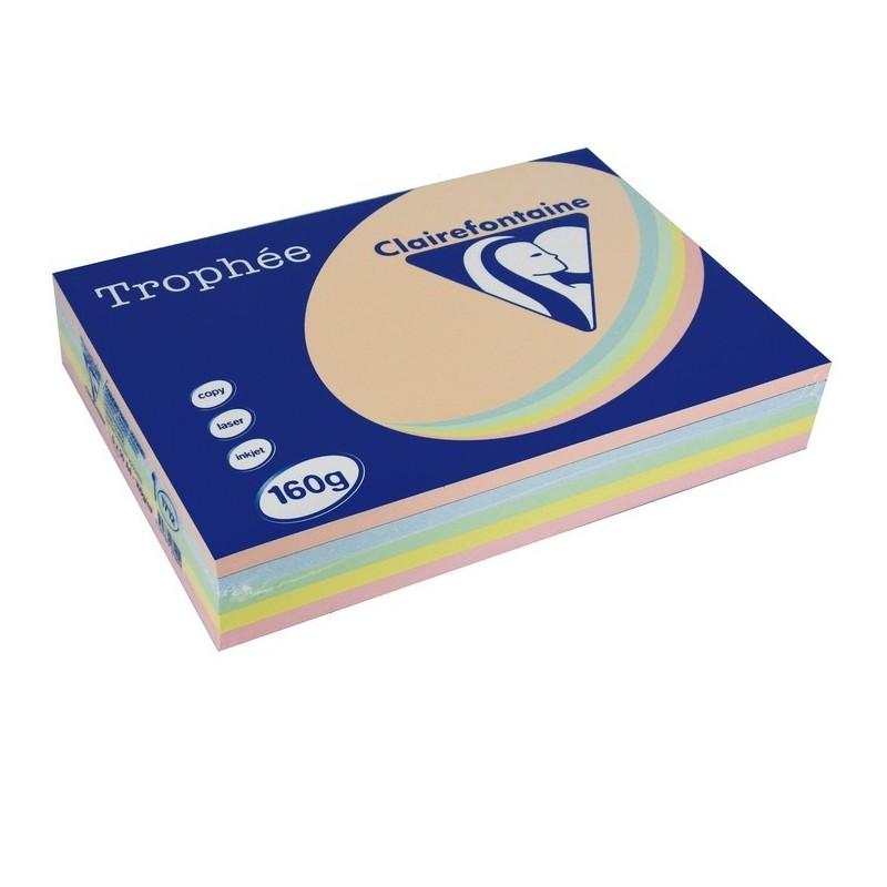 TROPHÉE Ramette 250 Feuilles Papier 160g A4 210x297 mm Certifié FSC  Assorti Pastel