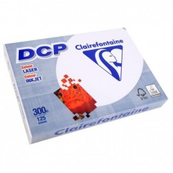 CLAIREFONTAINE Ramette 125 Feuilles Papier DCP 300g A4 210x297 mm Certifié FSC  Blanc