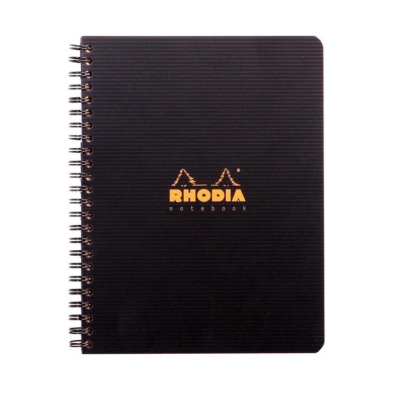 "RHODIA Cahier à spirale ""Note Book"", A5, quadrillé 5x5, noir"