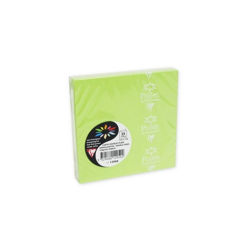 POLLEN Pqt de 25 Carte pliée Pollen 110x110 vert bourgeon