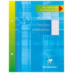 CLAIREFONTAINE Etui carton 200 pages Feuillets mobiles 17x22 90g séyès