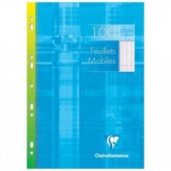 CLAIREFONTAINE Etui Carton 100 Pages 50 Feuillets mobiles A4 Grands Carreaux séyès 90g