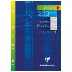 CLAIREFONTAINE Feuillets mobiles couleur s/étui 21x29,7 200p (50x4 coul.assorties) séyès