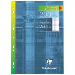 CLAIREFONTAINE Feuillets mobiles s/étui 21x29,7 200p Q.5x5 + marge