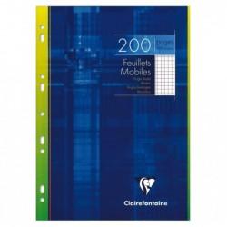 CLAIREFONTAINE Feuillets mobiles 21 x 29,7 cm 90g 200 pages (100 feuillets) Quadrillé 5X5