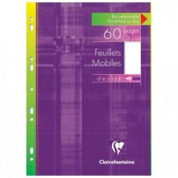 CLAIREFONTAINE Etui de 30 Feuillets mobiles dessin 125g s/étui 21x29,7 60 Pages Unies