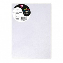CLAIREFONTAINE Sachet de 5 cartes 148x210 blanc irisé 210g