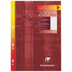 CLAIREFONTAINE Etui de 200 Pages Copies doubles perforées 21x29,7 Q.5x5 + marge Blanc