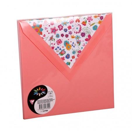 POLLEN Sachet de 10 enveloppes Pollen doublure fleurs liberty 165x165 litchi