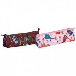 CLAIREFONTAINE Trousse Trapèze 21x5x5 cm ANIMAUX, 2 couleurs assorties