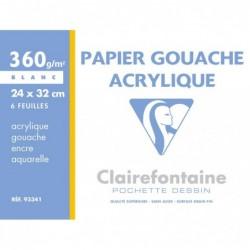 CLAIREFONTAINE Pochette gouache & acrylique 24x32 6F 360g