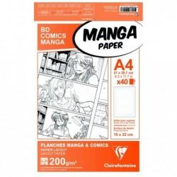 CLAIREFONTAINE Manga Etui BD/Comic A4 40F G.6C 200g