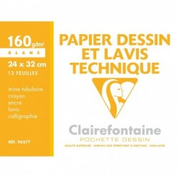 CLAIREFONTAINE Pochette papier dessin & lavis technique 24x32 12F 160g Blanc