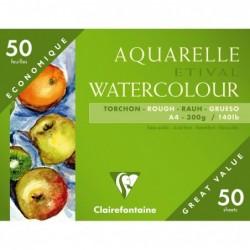 CLAIREFONTAINE Paquet de 50 Feuilles aquarelle Etival Torchon 300g