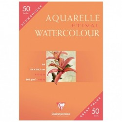 CLAIREFONTAINE Paq 50 Feuilles papier aquarelle Etival grain fin A4 300g